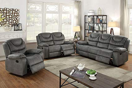 Amazon.com: 3Pcs Slate Grey Leather Motion Sofa Loveseat Chair
