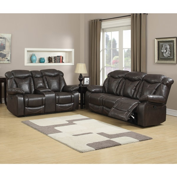 Shop Walter Dark Brown Leather Reclining Sofa and Loveseat (Set of 2
