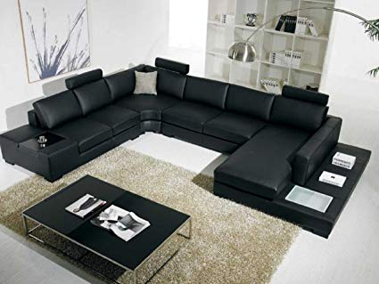 Amazon.com: T35 Black Bonded Leather Sectional Sofa with Headrests