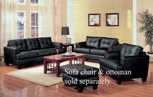 Amazon.com: 2 PCs Black Classic Leather Sofa and Loveseat Set