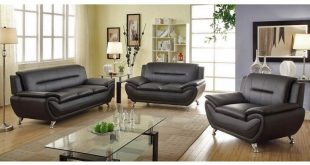 Mina Modern Black Leather Sofa Set
