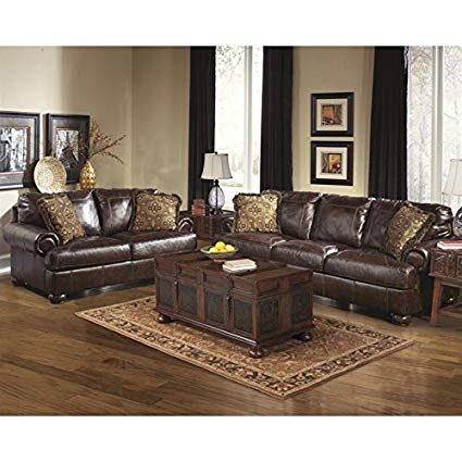 Amazon.com: Ashley Furniture Axiom 2 Piece Leather Sofa Set in