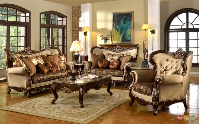 Antique Style Traditional Formal Living Room Furniture Set Beige & Brown