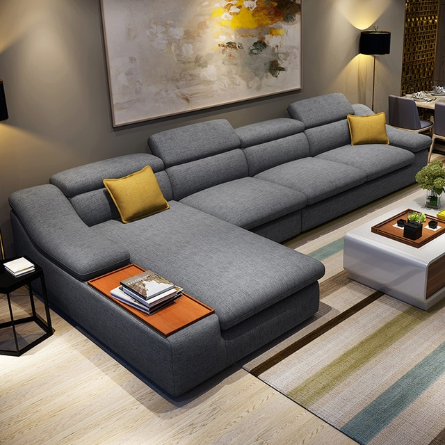 living room furniture modern L shaped fabric corner sectional sofa