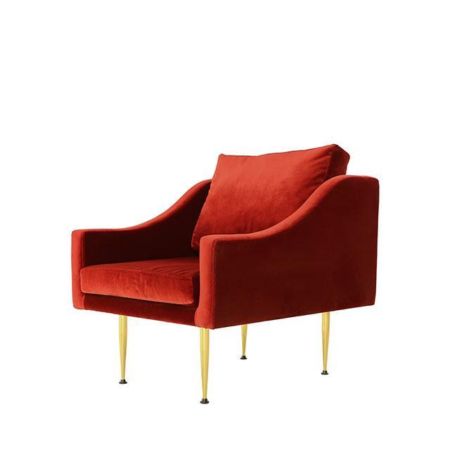 Florence D - Modern Lounge Armchair - Curved Arms - Velvet u2013 Organic