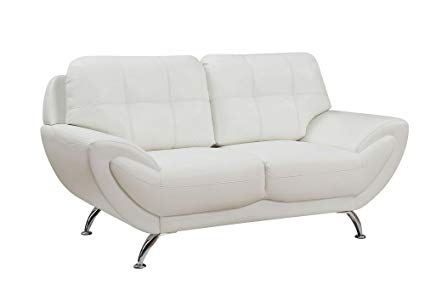 Amazon.com: Reanna White Breathable Leatherette Loveseat by