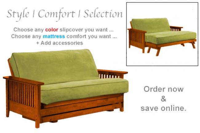 Folding Sofabed Wallhugger | Denali Cherry Loveseat Futon Frame