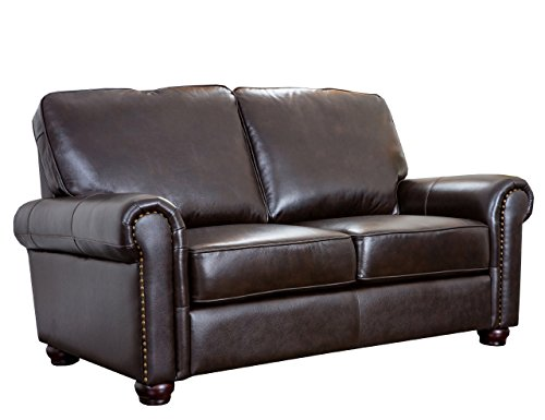 Amazon.com: Abbyson Wilshire Italian Leather Loveseat, Brown: Home