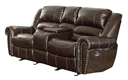 Amazon.com: Homelegance 9668BRW-2 Double Glider Reclining Loveseat