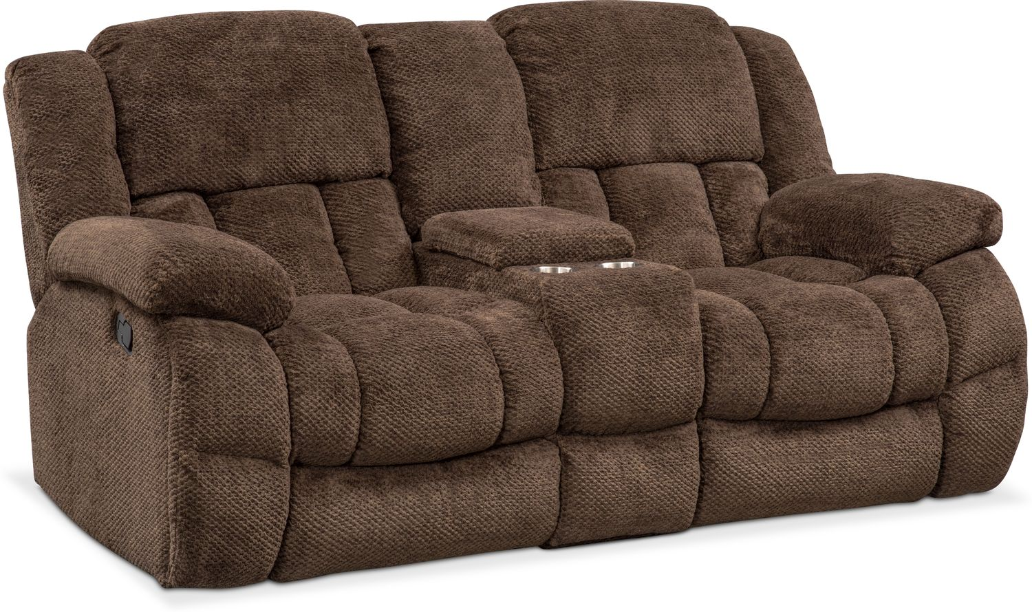 Turbo Reclining Loveseat with Console | Value City Furniture and