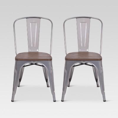 Carlisle High Back Metal Dining Chair With Wood Seat - Natural Metal