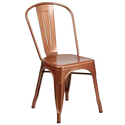 Amazon.com: Flash Furniture Copper Metal Indoor-Outdoor Stackable
