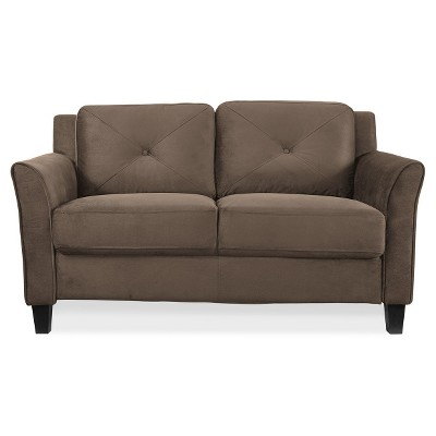 Astrid Tufted Microfiber Loveseat With Curved Arm In Brown