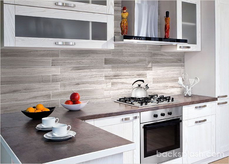 modern silver gray long subway marble backsplash tile | new house