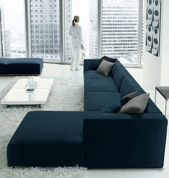 Modern comfortable corner sofa set design blue velvet sofa furniture