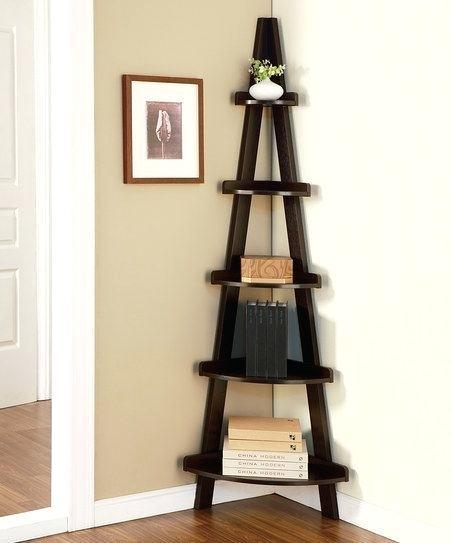 Modern Corner Bookshelf Shelf White Furniture Small Ladder