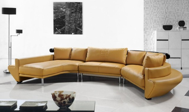 Contemporary Curved Sectional Sofa in Mustard Leather - Modern