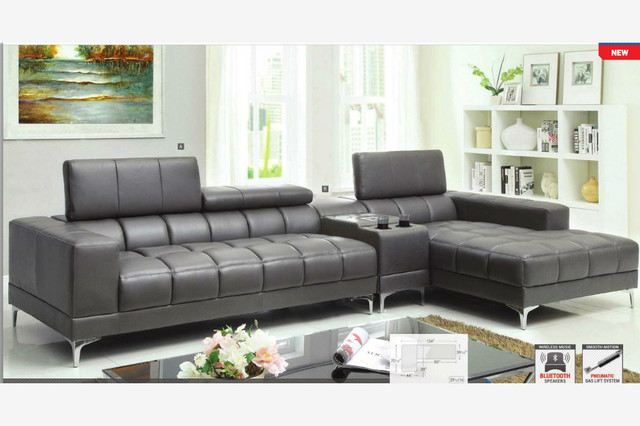 Modern Gray Leather Sectional Sofa Chaise Console Bluetooth Speaker