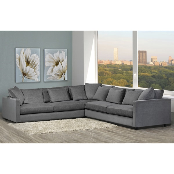 Shop Made to Order Modern Lounge Down Filled Grey Fabric Sectional