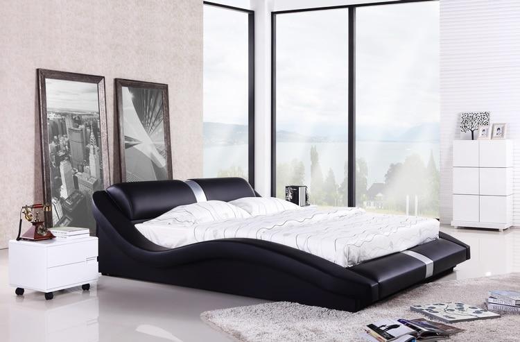Bedroom Furniture, European Modern Design, Top Grain Leather, King