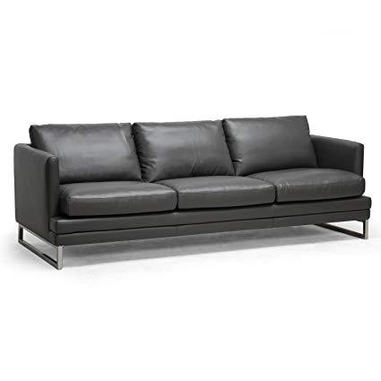 Amazon.com: Baxton Studio Dakota Leather Modern Sofa, Pewter Gray