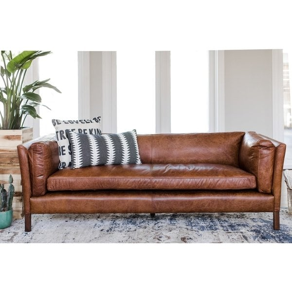 Shop Modern Leather Sofa - Mid Century Modern Couch - Top Grain