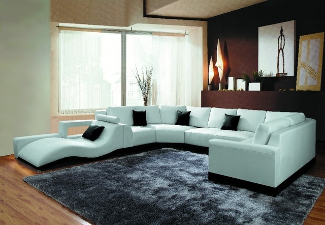 TB1005 Modern Living room furniture corner sofa set leather corner