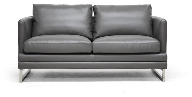 Dakota Pewter Gray Leather Modern Loveseat - Contemporary
