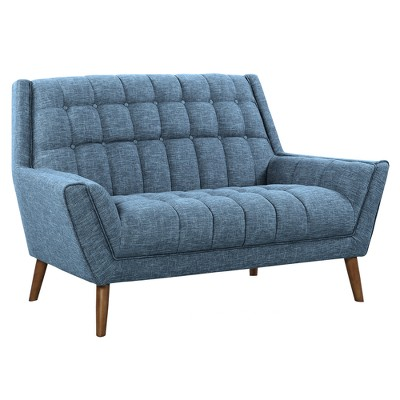 Cobra Mid-Century Modern Loveseat In Blue Linen And Walnut Legs