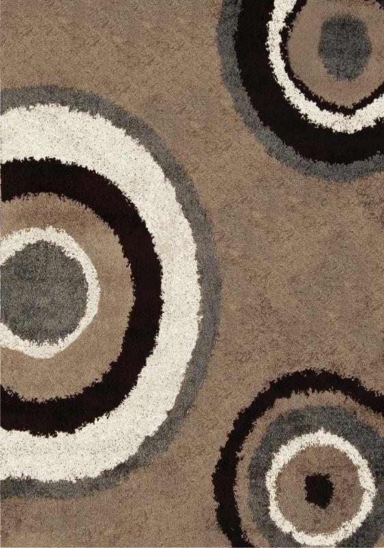 Contemporary Modern Shag Beige Gray Area Rug Swirls Shaggy Floor
