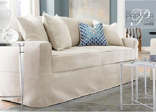 Sure Fit Acadia Separate Seat Petiti Sofa Slipcover - Oyster