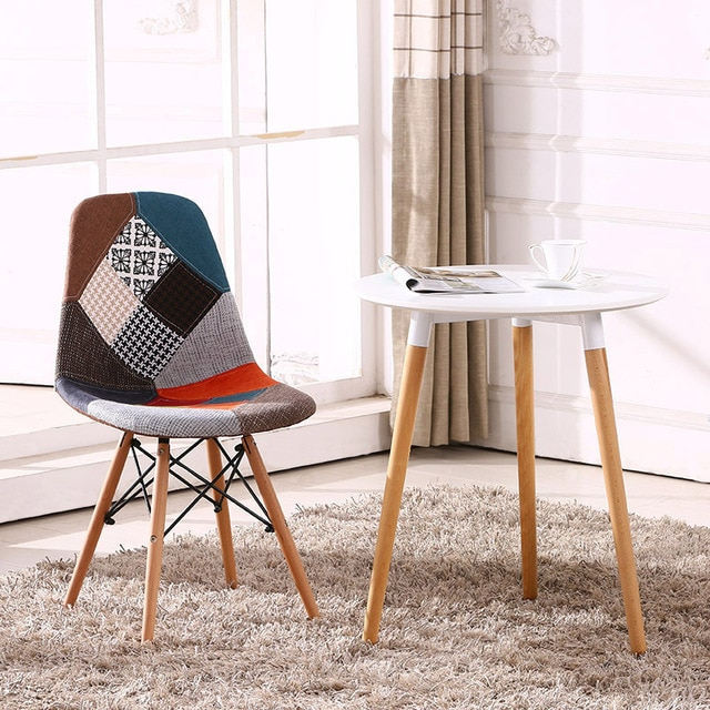 Multicolor Modern Upholstered Style Side Fabric Chair Dining Chair