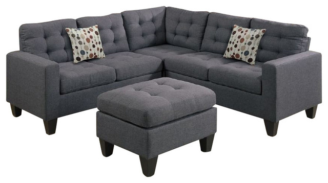 4-Piece Modular Sectional Sofa and Ottoman - Transitional - Living