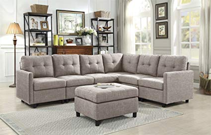 Amazon.com: 7-Pieces Indoor Modular Sectional Sofas with Storage