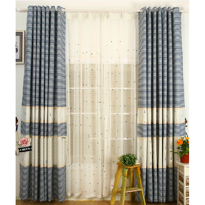 Quality White/Blue Cotton Kids Striped/Nautical Curtains