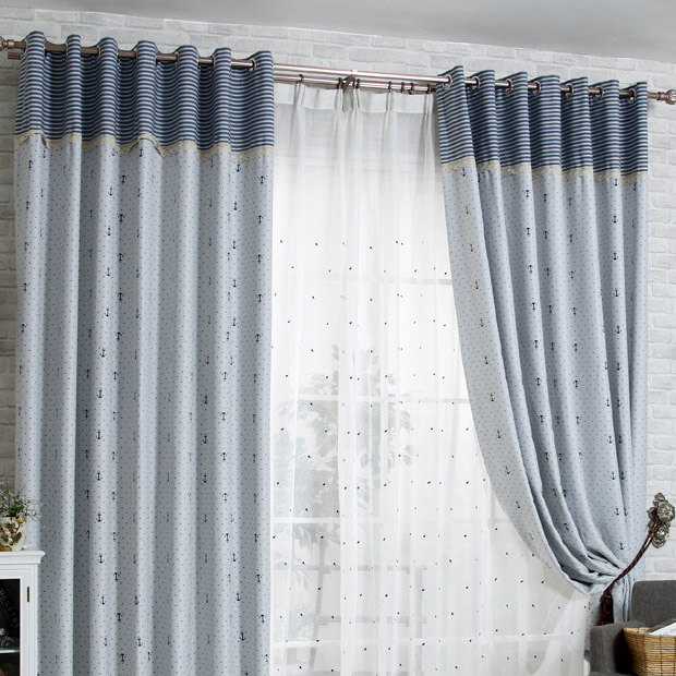 Thick Blackout Gray Cotton Nautical Curtains