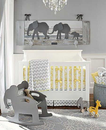 Elephant nursery decor. Unique wall art for a baby's room. Made of