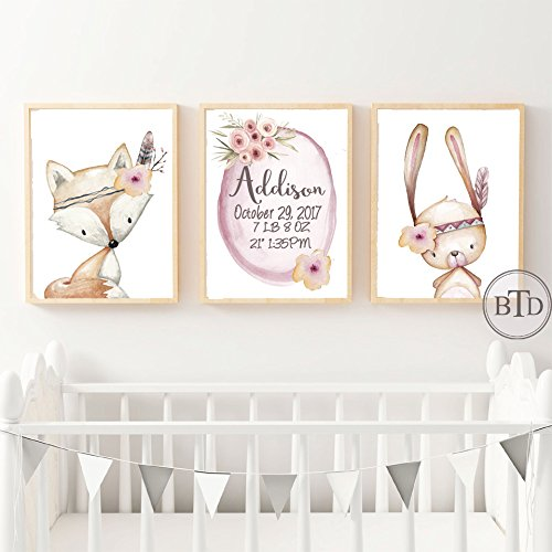 Amazon.com: Set of 3 Boho Baby Birth Stats Woodland Nursery Wall Art
