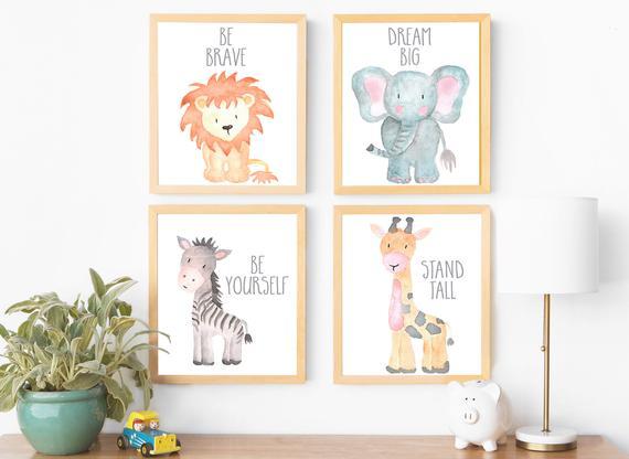 Safari Nursery Decor Wall Art Print Set of 4 Nursery Art Set | Etsy