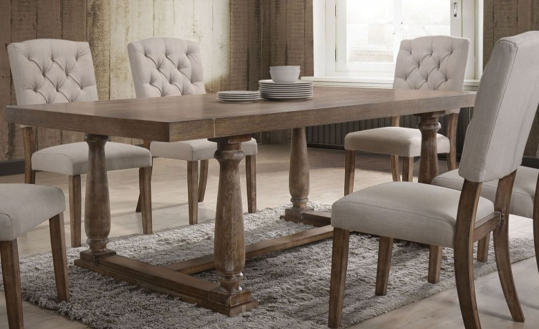 ACME Bernard Weathered Oak Dining Table - Bernard Collection: 8