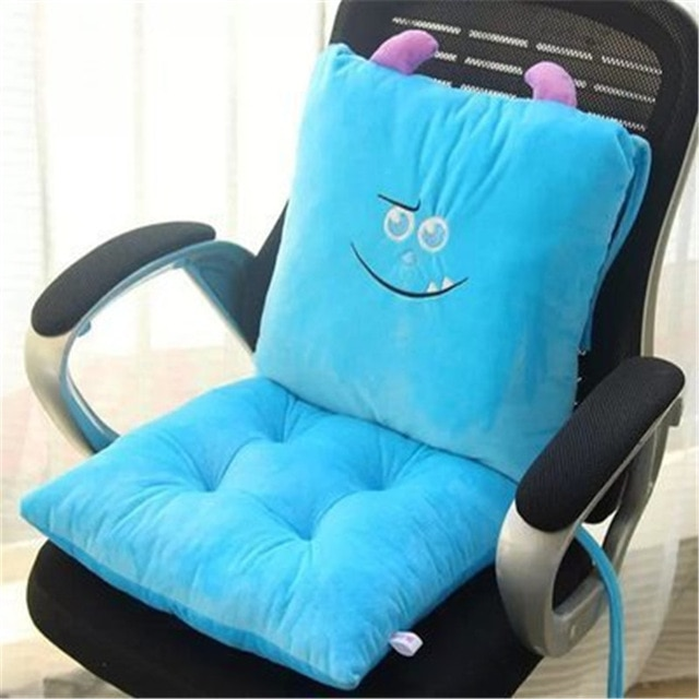 2Pcs/Set Cute Cartoon conjoined Chair Cushion Lumbar Support Waist