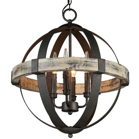 Industrial Rustic Wrought Iron Orb Chandelier Light