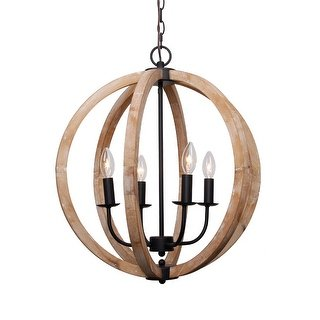 Shop Antique 4-Light Distressed Wood Orb Chandelier - Free Shipping