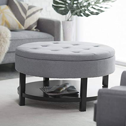 Amazon.com: Belham Living Coffee Table Storage Ottoman with Shelf