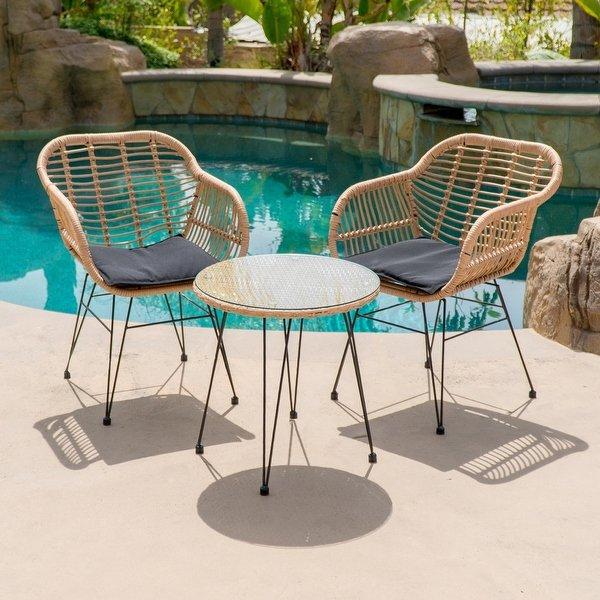 Shop BELLEZE 3-pieces Outdoor Patio Wicker Chair Bistro Set Cafe