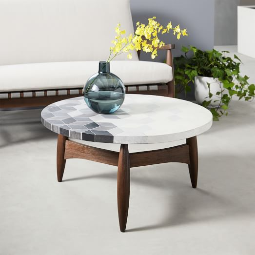 Mosaic Tiled Outdoor Coffee Table - Isometric Concrete/Turned Wood