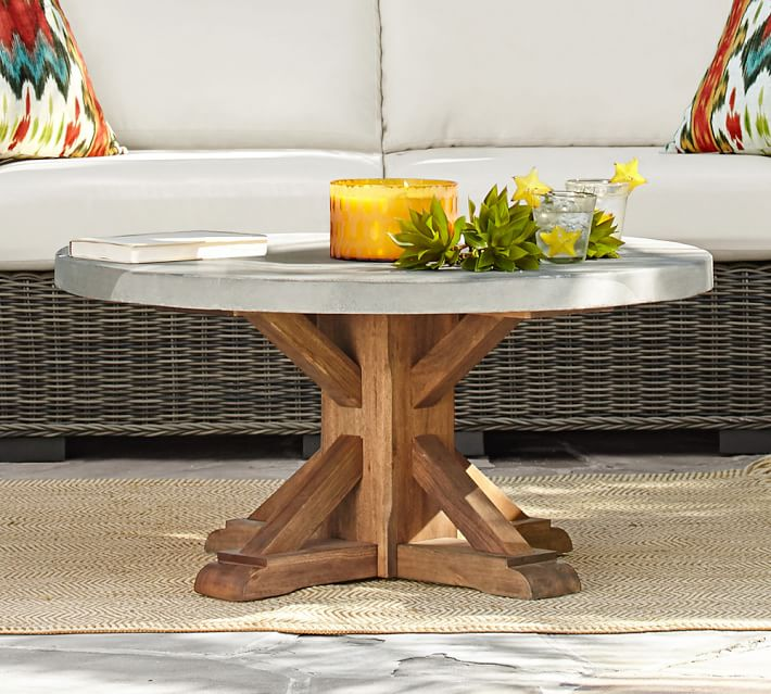 Abbott Round Coffee Table, Brown | Pottery Barn