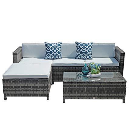 Amazon.com : Outdoor Patio Furniture Set, 5pc PE Wicker Rattan