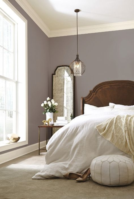 Poised taupe paint color for bedroom walls - beautiful with classic