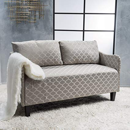 Amazon.com: Aurelia Grey Pattern Fabric Loveseat: Kitchen & Dining